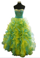 Style Beautifully 2015 Canary/Turquoise Beaded Strapless With Organza Ruffled A-Line Skirt Special Occasion Quinceanera Dresses