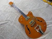 High Quality Factory Custom Gretsch Falcon 6120 Semi Hollow Jazz Orange Electric Guitar Bigsby Tremolo Free Shipping
