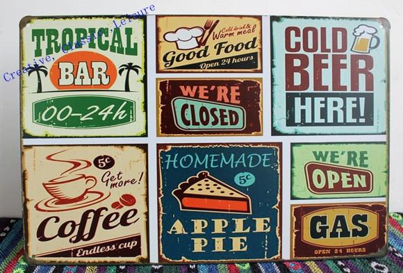 Free shipping Vintage bar metal tin signs Bar pub home Wall Decor Retro Metal Art Poster ,30x20cm(China (Mainland))