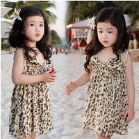 Wholesale - - 2014 New Summer Baby Girls Dress Clothes Children Leopard Print Suspender Cute sleeveless Dresses C1301