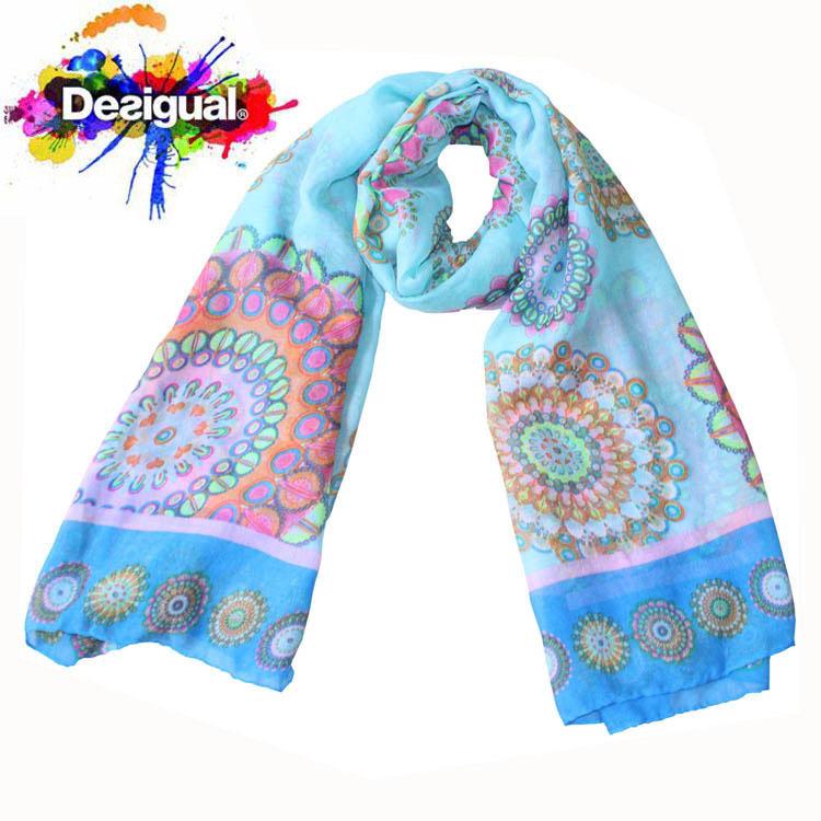 brand 2014 scarf fashion cute summer print flower yarn desigual scarf women long scarves apparel & accessories free shipping(China (Mainland))
