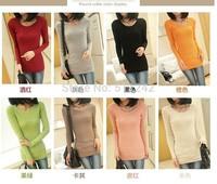 Free Shipping Hotsale 2014 new Korean wild Slim round neck sweater bottoming shirt stretch