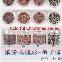 Boxed 10ml 50pcs/lot Brand New 2014 summer Mini Caviar Nail Art Polish Beads Manicures 3D Nail Art christamas series
