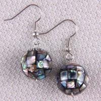 10 Pairs/lot New Fashion New Zealand MOP Abalone shell Round Ball Beads Dangle Earrings Wholesale