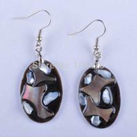 10 Pairs/lot New Fashion New Zealand MOP Black shell Oval Beads Dangle Earrings Wholesale