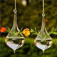 2014 New hot flower pots Creative droplets hanging transparent glass vase vases fashion Home Decoration Christmas decor gift