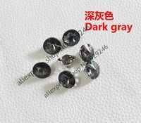 free shipping 12pcs/pack 12mm round transparent dark grey glass crystal button DIY shirt coat hat shoes costume sewing accessory