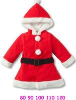 5pcs/lot wholesale hooded kids long sleeve christmas dress &coat ,fleece christmas gril's clothes ,full sleeve dress