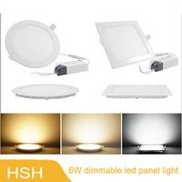 6w dimmable led panel light led slim flat ceiling light AC85-265V 10pcs/lot,