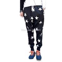 2014 Men Star Printed Drop Crotch Harem Sweatpants Sports Baggy Pants Mens Hip Hop Loose Dancing Sagging Bandana Trousers