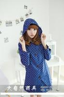 2014 free shipping fashion white dots women's  raincoat 100%waterproof female trench rain poncho Nature002