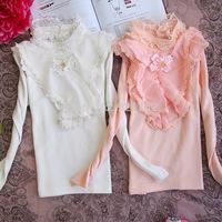 Retail 1 Piece Girls T-shirt 100% Cotton Quality Kids Basic Shirts Longsleeve Child Turtleneck Tops 4-10years