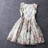 2014 Summer New Women Runway Fashion Digital Printing Peach Blossom Organza Sleeveless Knee-Length Retro Slim Dress
