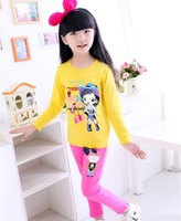Free Shipping 1pc 2014 Autumn New girl cartoon little beautiful printing full-sleeved T-shirt colorful cotton girl fashion tops