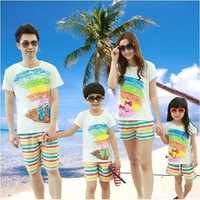 2014 New Summer Mother daughter Father Son sets ,sandbeach Family clothes , Kids Girls Boys Family T shirt + Striped Pants set