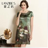 2014 summer new design silk dress Middle aged women mulberry silk  show thin body short skirt