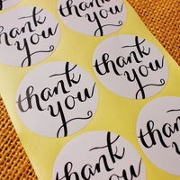 White round Thank You Stickers - Seals - Round 1.5 Inch - Thank You Script in Black