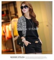 Free Shipping Hotsale 100 PCS /Lot Winter Leopard Ladies round neck shirt bat loose knit sweater bottoming thin section