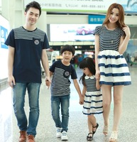 2014 New Summer Family clothes,Mother daughter Dress, Father Son T shirt ,Kids Baby Sports Fashion Family clothing