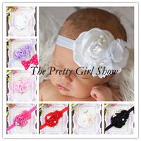 White Baby Headbands Infant Girls Satin Fabric Flower Headbands Children Hair Accesories Wedding Special Occasion 30pcs/lot