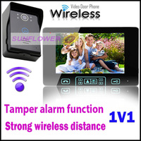 "Tamper alarm function strongest signal touch key 2.4GHz 7""LCD color wireless video door phone + rainproof outdoor unit 1V1"