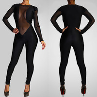 Women Rompers Womens Jumpsuit 2014 Bandage New Geometric Long Sleeve Bodycon Celebrity Sexy Jumpsuits Women