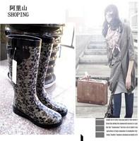 free shipping,Big brand fashion tall / long rain boots waterproof women water shoes,women rainboots,5 colors,Euro 40