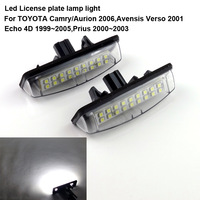 Excellent Ultrabright 3528 Epistar TAIWAN Led License plate lamp light for Toyota Camry Aurion Avensis Echo Prius,No OBC error