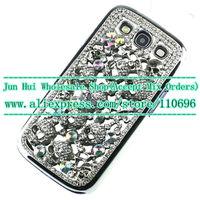 Free 10pcs/lot New handmade SKULL diamond Fashion Bling Crystal Skeleton Skull Case Cover Case for Samsung Galaxy S3 SIII i9300