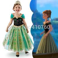 drop shipping new 2014 spring autumn girl Frozen Elsa Anna costume princess dress sequined cartoon party costume girls dresses
