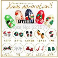 50pcs Mixed Xmas Cute Polymer Clay Decoration Christmas Tree Snowman Snowflake Gift Santa Hat Nail Art Decoration