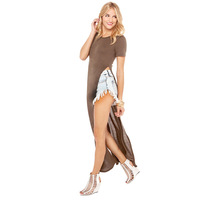 2014 NEW ARRIVAL HOT SALE!Milla Women Summer Autumn Exclusive O-neck Short-sleeved Maxi T-shirt Dress