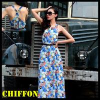 Summer dress 2015 women chiffon maxi long dresses new fashion sexy backless floor-length sleeveless floral printed casual dress