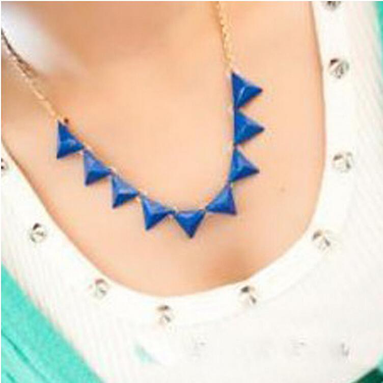 Free shipping 2014 Big jewelry wholesale fashion fluorescent color Orange triangle necklace(China (Mainland))