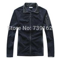 2014 fashion winter men brand collar long-sleeved fleece clothing outdoor velvet jacket black jacket L-XL Free shipping ny142