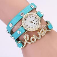 New  wrap around bracelet watch, love crystal imitation leather chain women's quartz wrist watches wholesale