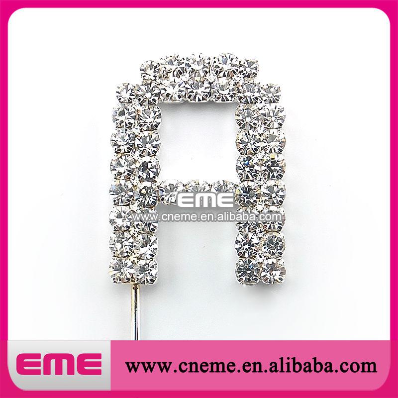35mm crystal rhinestone silver wedding letter initial monogram cake topper free shipping(China (Mainland))