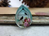 4pcs 18x25mm Handmade Photo Teardrop Glass Cabs Cabochons (Bird Cage) GDA4-15