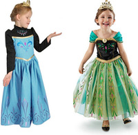 1pcs Retail,Frozen Elsa's Coronation Day Ball Dressy Princess Anna & Queen Elsa Dress For 3-8 Year Girl Cosplay