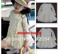 New Hot Lovely Girls Dress Kids Children Princess Dress Clothes Lace Flowers Hollow Beige Free Shipping