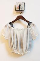 Spring and summer vivi magazine vintage plaid slit neckline ruffle hem shorts twinset chiffon shirt