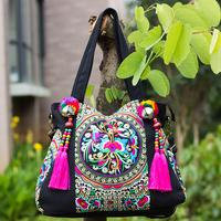 National Trend Shoulder Bag Double Faced Embroidered Handbag  Tassel Tote Boho