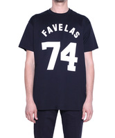 2014 spring and summer g favelas 74 fashion round neck letter digital T-shirt male