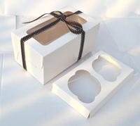 2-count White box cupcake cupcake box with insert 16cm*9cm*7.5cm ( 100 pieces)