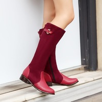 colors block plus size Eur 30-47 fashion knee high booties for girls winter autumn shoes Woman martin women boots SX140277