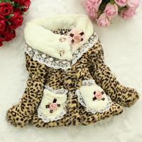 2014 Leopard Girls Faux Fur Coat Fashion Children's Outerwear Kids Spring Autumn Winter Warm Jackets Baby Girls Lace Flower Coat