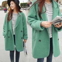 2013 winter sweet casual loose plus size wool turn-down collar woolen outerwear wool coat female