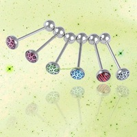 ES1453 6 PCS Stainless Leopard Print Tongue Ring Bar Barbells Body Piercing Jewelry