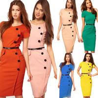 Summer New  Fashion Women Dress OL Pencil Bodycon Dress  V-Neck Short Puff Sleeve Button Empire High Waist 9 Color 7 Sizes