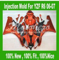 Pre_drilledInjection mold orange black for Yamaha YZF R6 2007 2006 YZF R6 07 06 YZF600 R6 2006 2007 motorcycle fairings kit #733